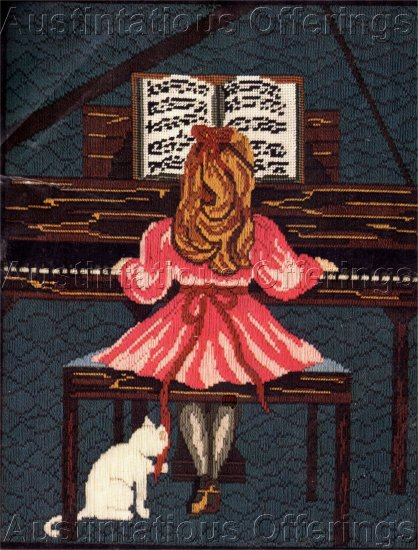 RARE  CHILD'S  FIRST PIANO RECITAL LONGSTITCH NEEDLEPOINT KIT GIRL AND KITTY CAT