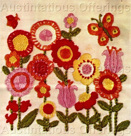 RARE VIBRANT PINK FLOWER GARDEN CREWEL EMBROIDERY  KIT TULIPS POPPIES
