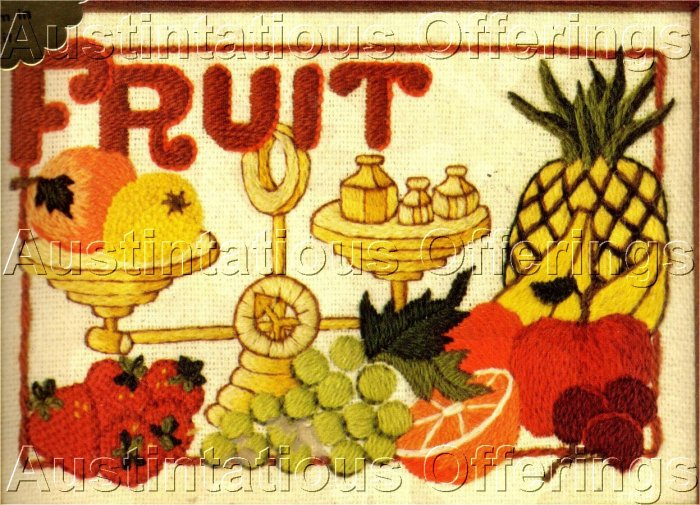 MORRIS FORMAL FRUIT MINIATURE STILL LIFE CREWEL EMBROIDERY FORMAL TABLE