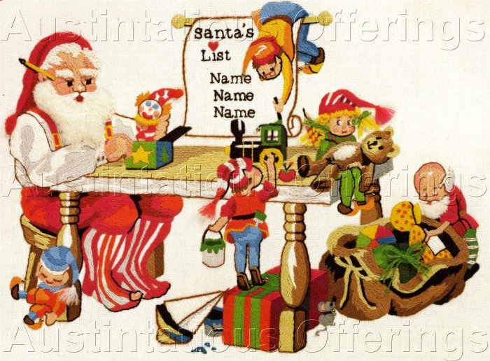 RARE GERRISH SANTAS WORK SHOP CHRISTMAS CREWEL EMBROIDERY KIT