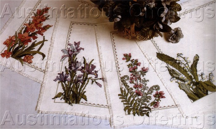 SPRING FLORAL TABLE LINENS CROSS STITCH KIT PLACEMAT SET