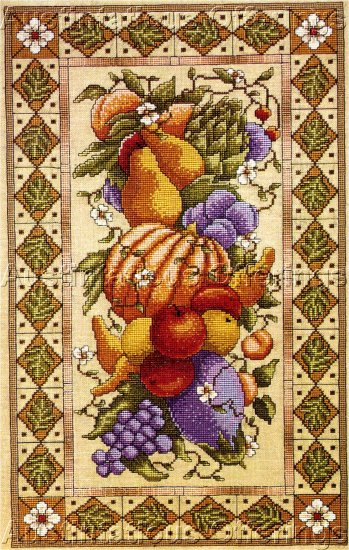 RARE WILLIAMS TUSCAN STILL LIFE LINEN CROSS STITCH KIT FLORENTINE FRUITS & VEGETABLES
