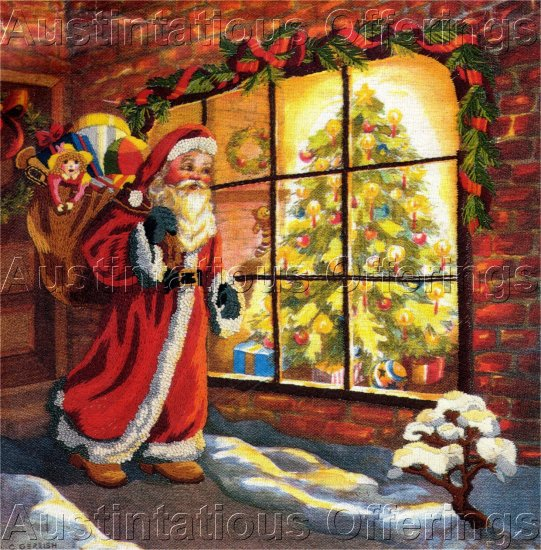 RARE CHARLENE GERRISH FATHER CHRISTMAS CREWEL EMBROIDERY KIT SANTA THROUGH WINDOW
