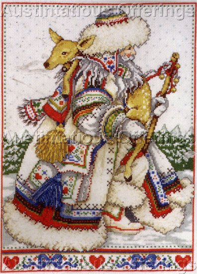 RARE ANNE YVONNE GILBERT NORDIC FATHER CHRISTMAS CROSS STITCH KIT SWEDISH SANTA