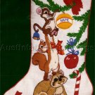 RARE LINDA POWELL WOODLAND ANIMALS CREWEL EMBROIDERY STOCKING KIT TRIMMING TREE