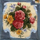 RARE VICTORIAN NOSEGAY NEEDLEPOINT PILLOW KIT ROSES & RIBBON