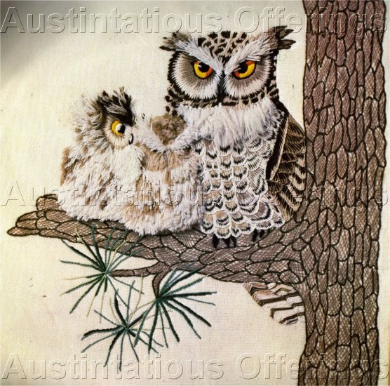 RARE WILSON TEXTURED CREWEL EMBROIDERY  KIT MAJESTIC OWL FAMILY