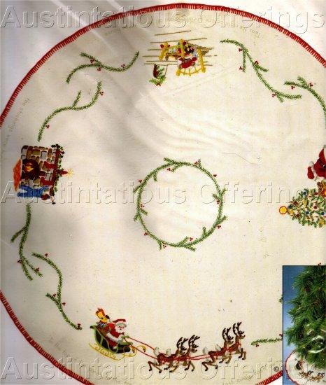 ULTRA RARE JENNINGS CREWEL EMBROIDERY TREE SKIRT KIT NIGHT BEFORE CHRISTMAS TABLECLOTH