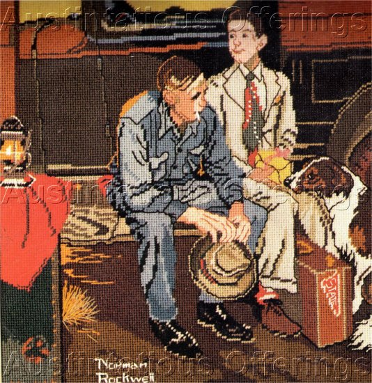 RARE NORMAN ROCKWELL REPRODUCTION NEEDLEPOINT KIT COLLEGE BOUND