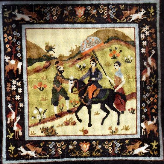 RARE GLENN MIDIEVAL HUNT NEEDLEPOINT PILLOW  KIT HORSE PERSIAN RIDER SERVANTS