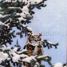 RARE WISE BIRD OF PREY PORTRAIT SEEREY-LESTER WINTER OWL CREWEL EMBROIDERY KIT