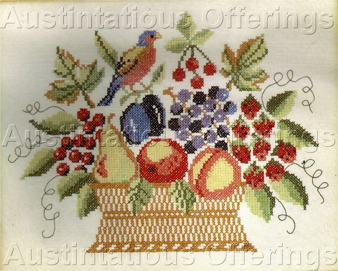 HARD TO FIND FRUIT BASKET LINEN  STAMPED CROSS STITCH SAMPLER  KIT THEOREM PAINTING REPRODUCTION