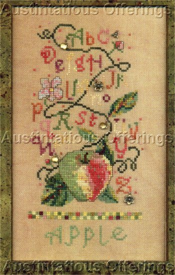 SISTERS & BEST FRIENDS FRUIT SALAD CROSS STITCH SAMPLER APPLE  CHART/ LEAFLETTE NOT KIT