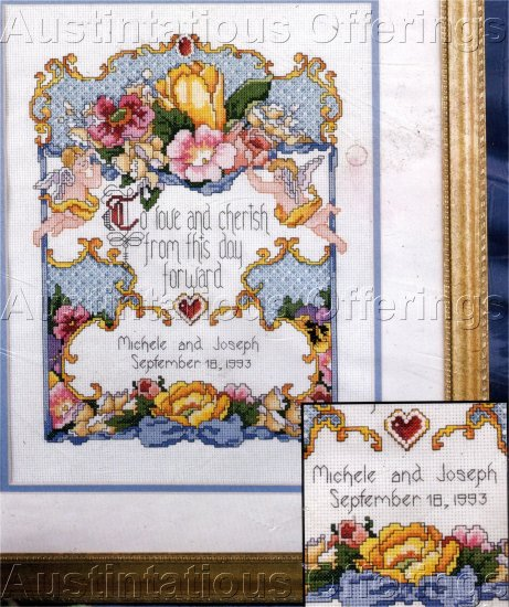 TOKEN OF LOVE WEDDING RECORD COUNTED CROSS STITCH
