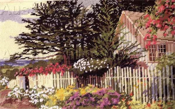 Rare Seaside Cottage Needlepoint Kit Fragrant Summer Morning