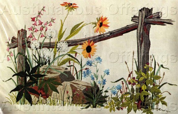 Rare Georgia Ball Along Country Fence Wildflowers Crewel Embroidery Kit