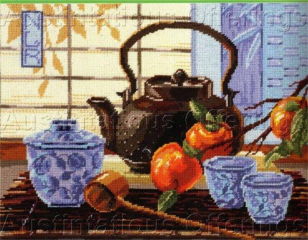 RARE JAPANESE BLUE WHITE SET ASIAN TEA CEREMONY NEEDLEPOINT KIT ROSSI