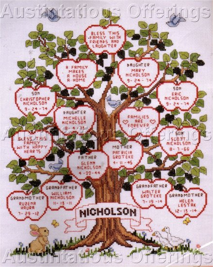 Wedding Birth Record Family Sampler Cross Stitch Kit Family Apple Tree