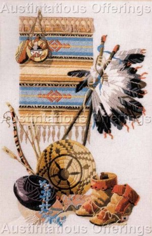 RARE ROSSI NATIVE AMERICAN HERITAGE CREWEL EMBROIDERY KIT