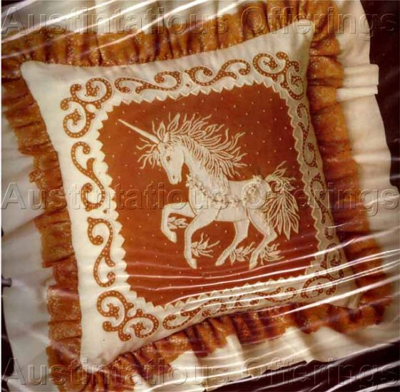 Coffee & Ivory Cutwork Lace Candlewicking Crewel Embroidery Kit Unicorn