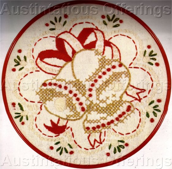 Christmas Bells Candlewicking Crewel Embroidery Kit Holiday Chimes