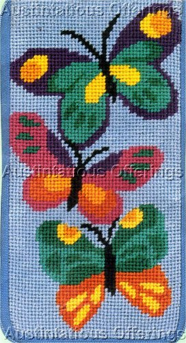 PREASSEMBLED NEEDLEPOINT COLORFUL BUTTERFLY EYEGLASS/CELLPHONE CASE