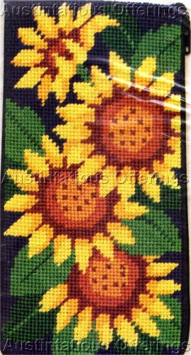 PREASSEMBLED NEEDLEPOINT BRIGHT SUNFLOWERS EYEGLASS/CELLPHONE CASE
