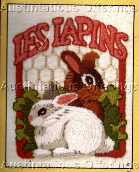 VINTAGE CRATE LABEL STYLE BUNNIES FRENCH RABBITS EMBROIDERY KIT