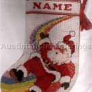 RARE SANTA ON RAINBOW STOCKING CROSS STITCH KIT