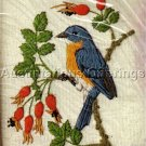 RARE LINDA POWELL BLUE BIRD FLOWER ANIMAL CREWEL EMBROIDERY KIT
