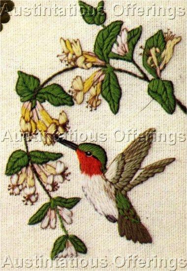 RARE LINDA POWELL YELLOW FLOWER HUMMINGBIRD CREWEL EMBROIDERY KIT BIRD