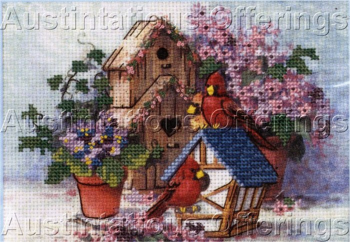 BARBARA MOCK BIRD HOUSE CARDINAL FLOWER EMBELLISHED CROSS STITCH KIT