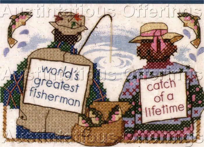 FISHERMAN FISHER WIFE SAMPLER CROSS STITCH KIT FISH FISHING POLE GREATEST CATCH