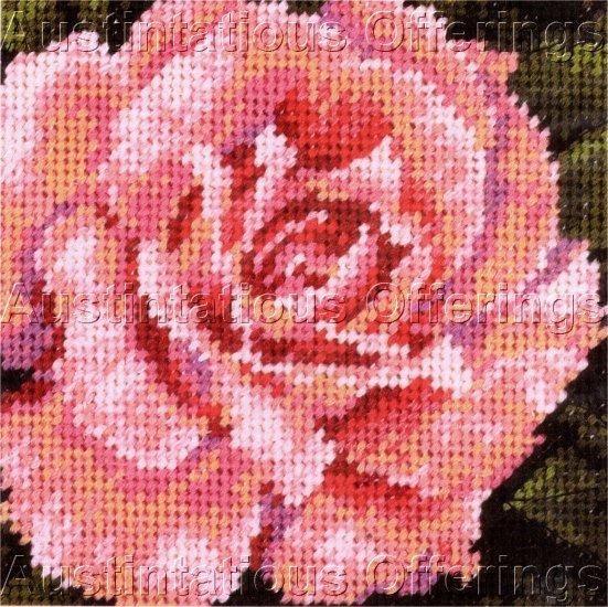 PINK ROSE IN FULL BLOOM NEEDLEPOINT KIT FLOWER