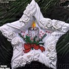 RARE HOLIDAY STAR CANDLE CROSS STITCH ORNAMENT KIT WITH SCULPTED FRAME