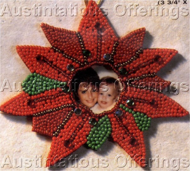 STITCH AND FILL BEADING POINSETTA PIN OR ORNAMENT BEADING KIT