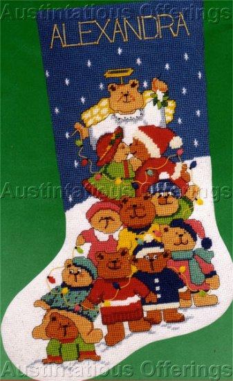 Cuddly Christmas Tree Teddy Bears Needlepoint Stocking Kit
