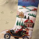 RARE SANTA'S CHRISTMAS ANTIQUE MOTOR CAR CROSS STITCH STOCKING KIT
