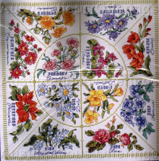 Vibrant flowers of the month counted cross stitch kit