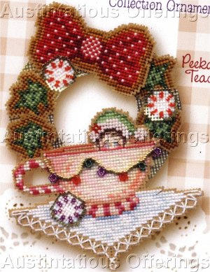 Christmas Elf Babies Bead Cross Stitch Kit Brooke�s Books Teacup