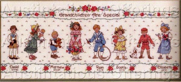 Betty Whiteaker Treasured Grandchildren Cross Stitch Kit Grandchild Birth Sampler
