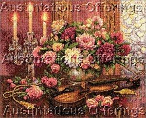 Rare Lena Liu Romantic Music & Floral Still Life Cross Stitch Kit Violin & Candle Light