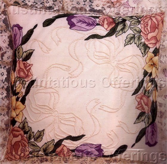 Elegant Spring Floral Candlewicking & Crewel Embroidery Kit Tulips Lilies & Roses