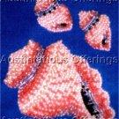 Ann Benson Sandy Pink Conch Shell  Beadpoint Brooch & Earring Set Cardbeading