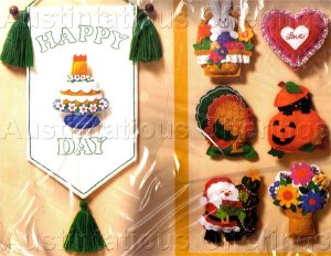 Rare Fleming Felt Embroidery & Applique Kit Holiday & Special Occasion Banner