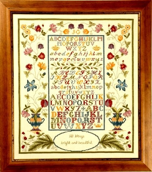 Greenoff Historic Style Fancy Alphabet Sampler Linen Cross Stitch Kit