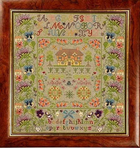 Greenoff Historic Style Cottage Floral Sampler Cross Stitch Kit