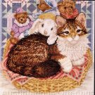 Kitty Cat & Friends in Basket Counted Cross Stitch Kit Kitten & Teddies