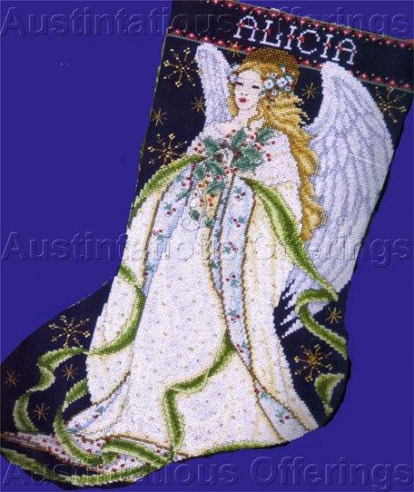 Joan Elliott Wintry Angel Cross Stitch Stocking Kit Holly Boughs