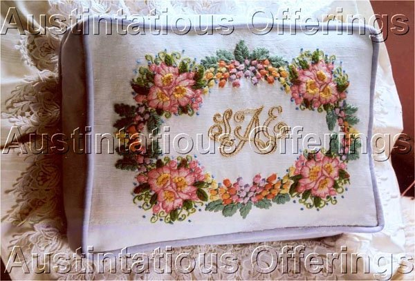 PERSONALIZED ROSES CREWEL EMBROIDERY PILLOW KIT MONOGRAM WILD ROSE FLORAL
